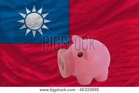 Piggy Rich Bank And  National Flag Of Taiwan