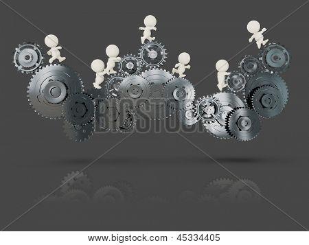 3D people on cogwheels working as a team