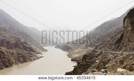 Karakorum Highway And Indus River