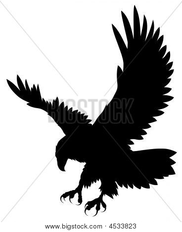 ... or Photo of Abstract vector illustration of flying eagle silhouette Eagle Silhouette Vector