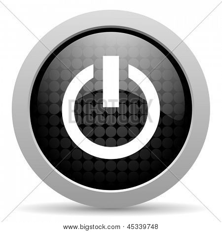 power black circle web glossy icon