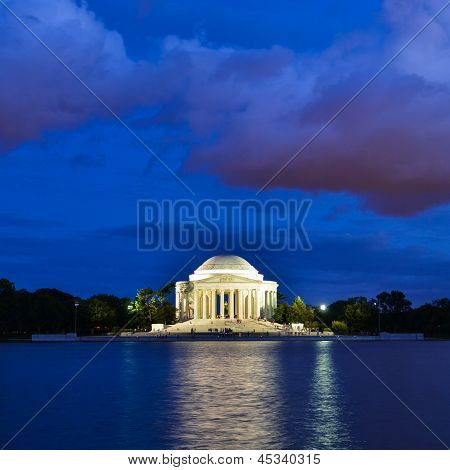 Washington DC, Thomas Jefferson Memorial at night with dramatic sky - United States