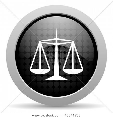 justice black circle web glossy icon