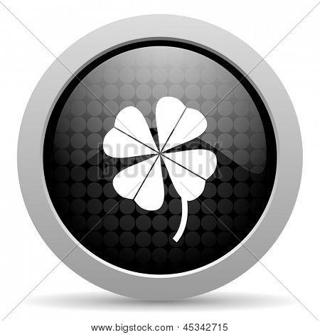 four-leaf clover black circle web glossy icon