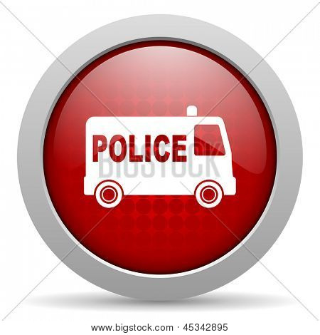 police red circle web glossy icon