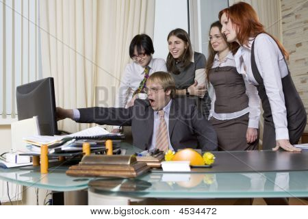 I'll Show You!  5 Business People Working Together In Office.