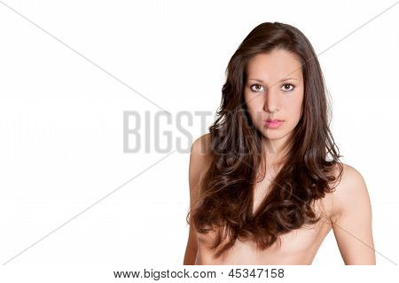 Closeup Portrait Of Beautiful Topless Brunette Model