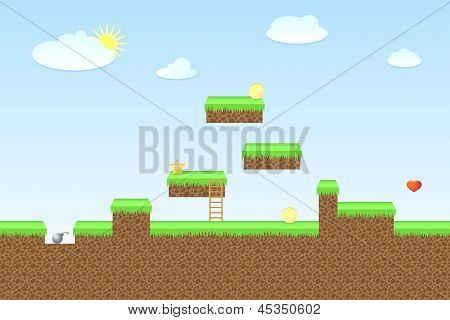 Arcade game world, vector illustration