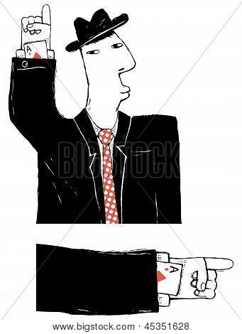 Cardsharper Cartoon Illustration