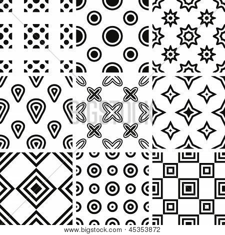 Set Of Monochrome Geometric Seamless Patterns.eps