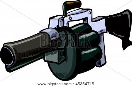 Illustration of grenade launcher. Isolated on white