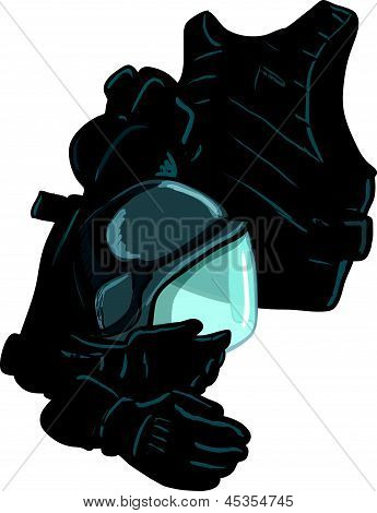 Illustration - Illustration of modern body armour Isolated on white