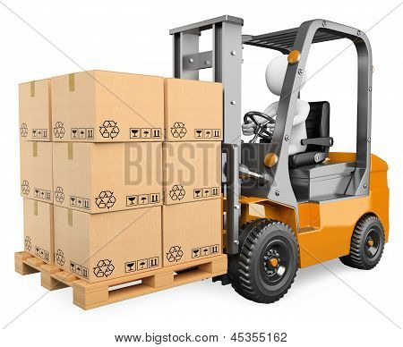 3D White People. Forklift With A Pallet