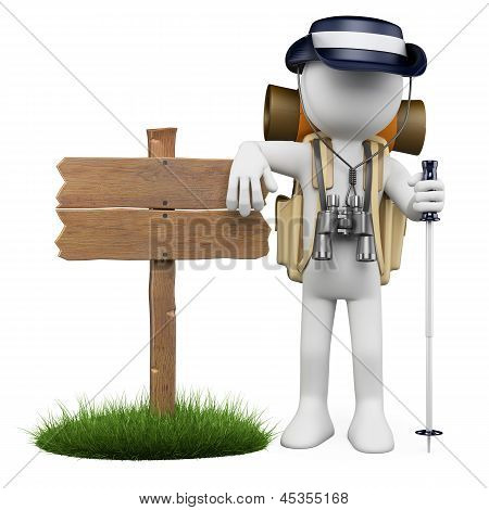 3D White People. Hiker With Wooden Sign