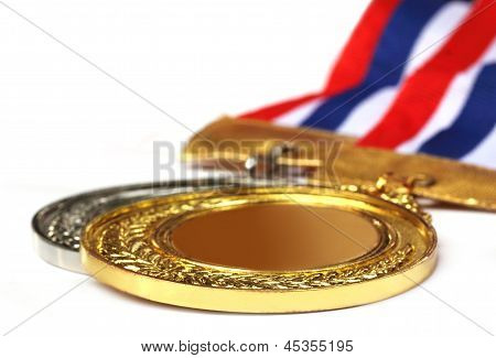 Medal over white background