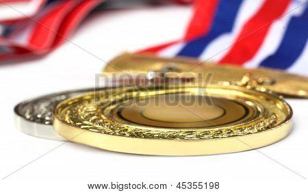 Medal over white background
