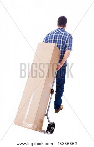Young man carring a cardboard box, isolated on white background