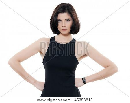 one beautiful serious caucasian woman portrait in studio isolated on white background