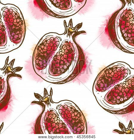 Seamless pattern with pomegranate