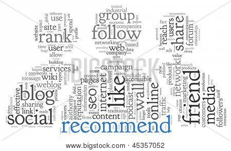 Social media and recommend concept in word tag cloud on white background