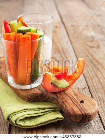 Fresh Vegetables Snack And Yogurt Cheese Dip. Selective Focus