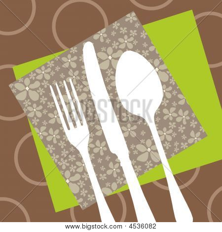 Retro Restaurant Design With Cutlery Silhouette And Napkins