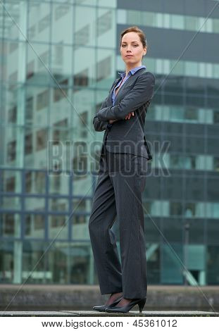 Confident Businesswoman Standing Outside The Office