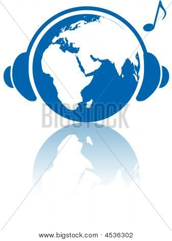Earth Music World Headphones On Planet Eastern Hemisphere