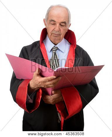 Senior judge reading indictment isolated on white background