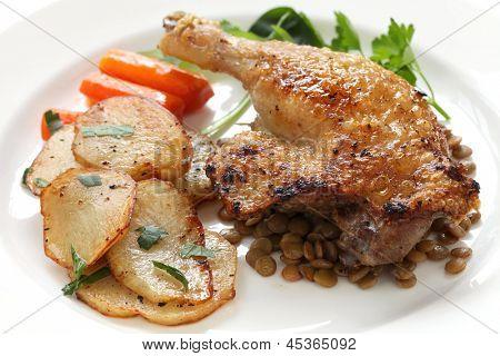 confit de canard, duck confit, french bistro dish
