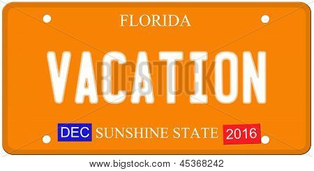 Vacation Florida License Plate
