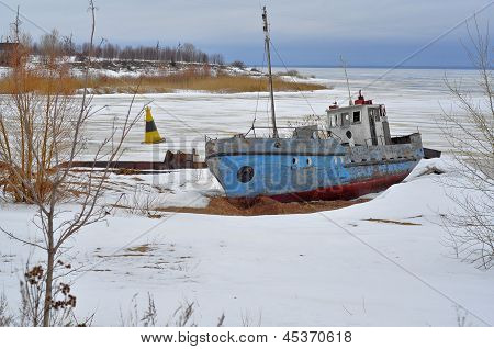 Winter Landscape. Old Ship.
