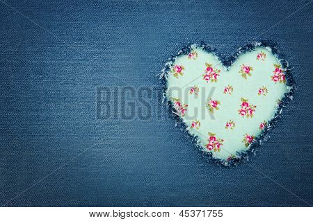 Blue Denim Jeans With Green Heart