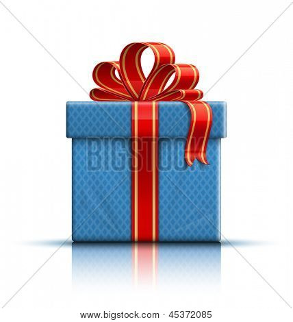 Blue gift box with a red ribbon and a bow. Raster version