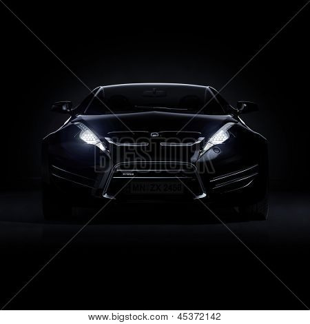 Brandless black sports car