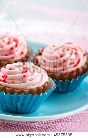 Red Sprinkles On Pink Cupcake Chocolate Bonbons