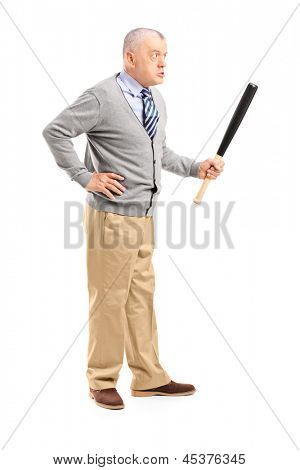 Full length portrait of an angry middle aged man holding a baseball bat, isolated on white background