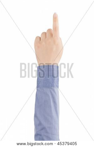 The Index Finger Of A Woman's Hand Touching Virtual Screen.