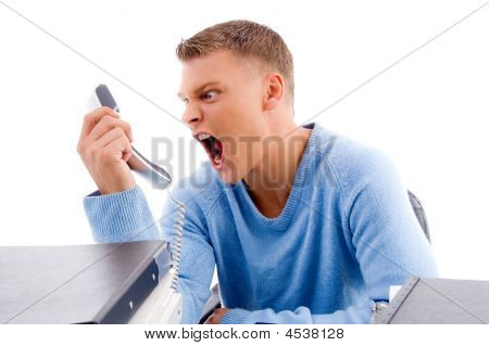 Young Professional Shouting On Phone