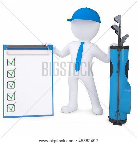 3d white man holding checklist