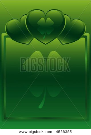St. Patrick's Day Glossy Heart Background