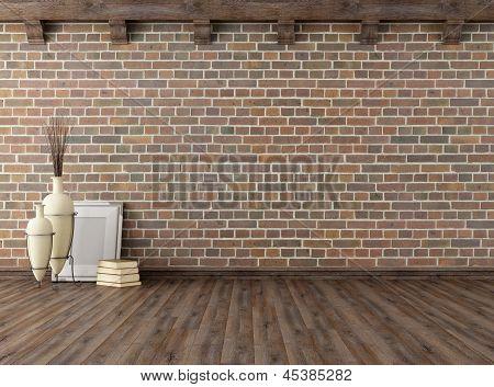 Empty Vintage Interior With Brick Wall
