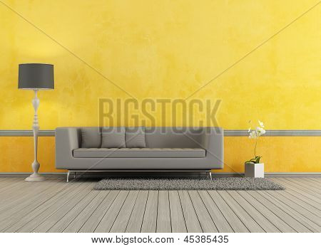 Gray And Yellow Living Room