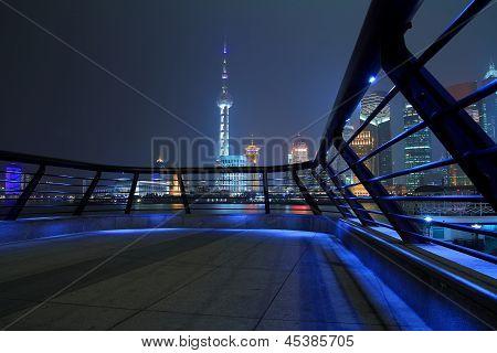 Shanghai Bund Skyline At Night City Landscape
