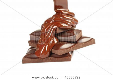 Melted chocolate dripping