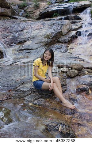 Asian Thai Attractive Woman Standing At Palad Waterfall