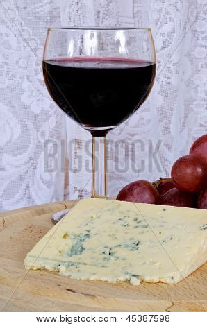 Bleu D'Auvergne cheese and wine.