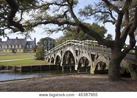 The boat basin footbridge at the Whalehead Club in Corolla, North Carolina in one National Register of Historic Places
