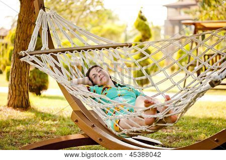 Woman on hammock.
