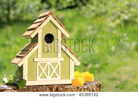 Fancy wooden bird house.